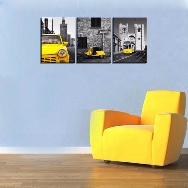 Black And Yellow City Wall Art Taxi Motor Tram Picture Photo Canvas Print Art Modern Home Office Wall Decor Giclee Print Art