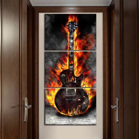 HD Printed Home Decorative Art Burning Guitar Canvas Painting for Living Room Wall Decor Artwork Poster Picture 3 Panel Dropship