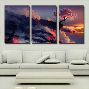 Gift Photo Magic Cherry Tree in Volcanoes Canvas Prints No Frame Modern Wall Art Painting Artwork for Room Home Decor 16X24inch