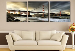 3pcs/set Square Golden Gate Bridge Fashion Home Decor Wall Art Modular High Quality HD Oil Painting Canvas Waterproof Wholesale