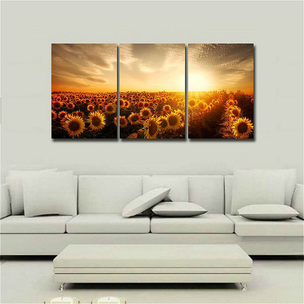 Flowers Sea of Sunflower Canvas Print Modern Wall Art Abstract Painting Charming Scenery Artwork for Home Office Decor 40x60cm