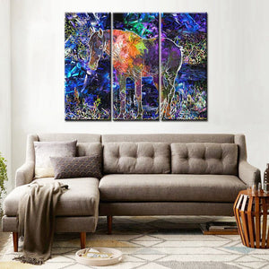 3 Panels Abstract Colorful Horse Artwork Painting Print on Canvas Beautiful Wall Art for Office Living Room Decorative Frameless