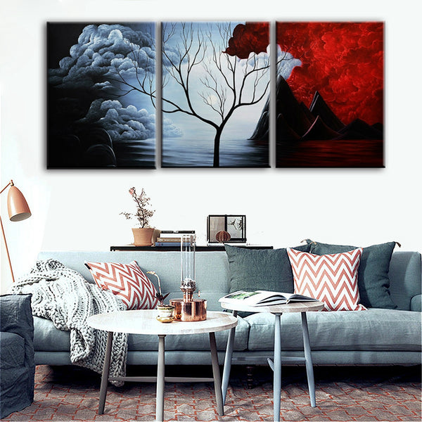 Gift Modern Abstract Painting Dead Trees in a Red and White Cumulus Cloud Wall Decor Landscape Painting on Canvas 12x16inch 3pcs