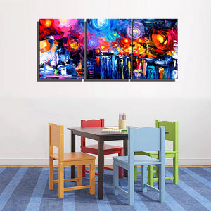 3 Panels Waterproof Canvas Painting Print Multicolor Starry Sky Oil Wall Art Decor Poster And Print Picture For Living Room Wall