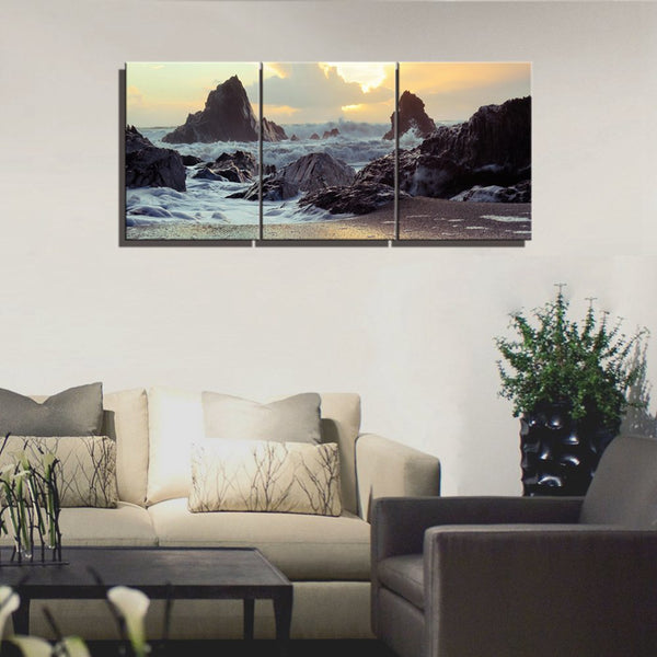 Wall Decor Pentium Sea Seascape and Landscape Picture Art Print Modular High Quality Home Decoration Wall Art 3 Panels 12x16inch