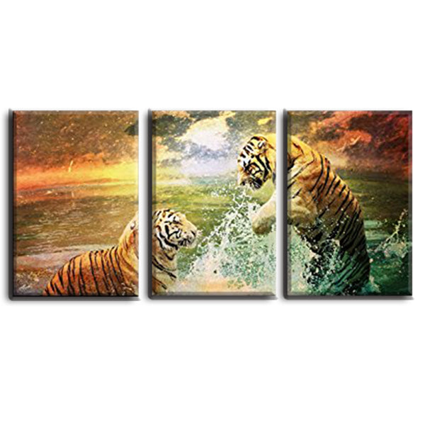 Two Tigers Playing in the Water Painting Office Decoration Art Wall Picture Canvas Print  Modern Home Gifts