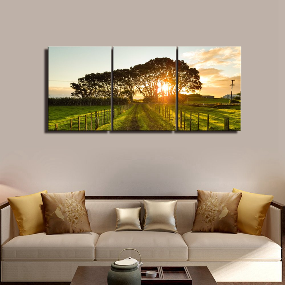 Farm Tree Posters And Prints Sunset Wall Decor Vintage Home Decor Canvas Painting Art Picture Print Living Room Wall Art Gift