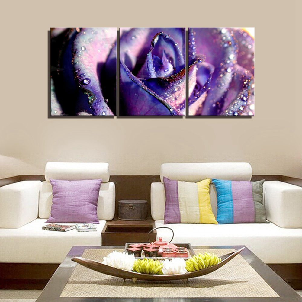 Water droplets purple rose wall art painting canvas for living room wall decor giclee art print home decor flower picture poster