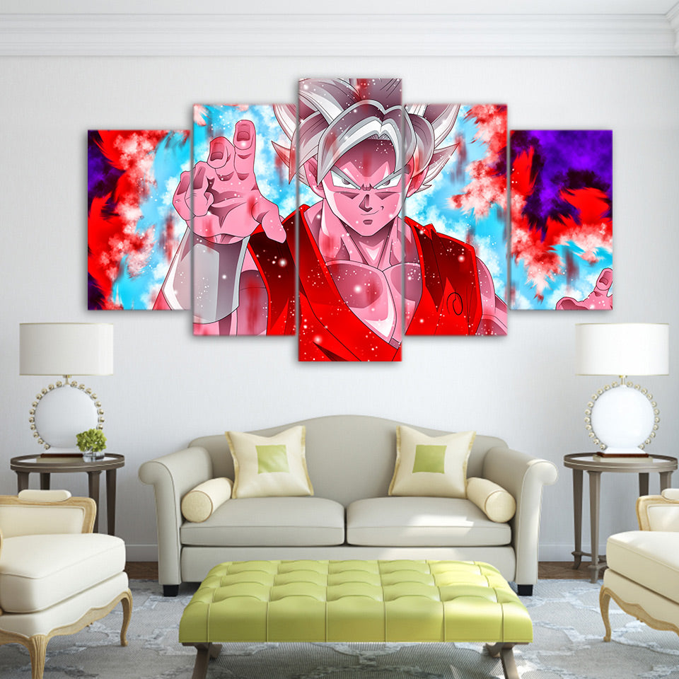 Canvas Print Pictures Home Decor Framework 5 Pieces Dragon Ball Painting Modular Wall Art Goku Super Saiyan Blue Kaio-Ken Poster