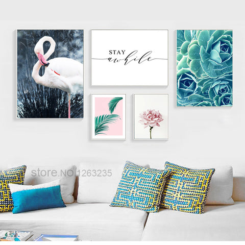 Flamingo Peony Flower Leaf Nordic Poster Wall Art Canvas Painting Posters Prints Picture Wall Pictures For Living Room Unframed
