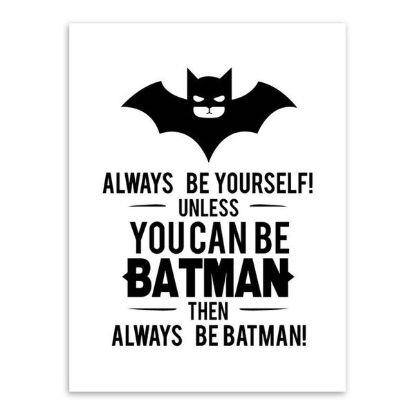 Superhero Batman Art Prints Poster Black White Typography Quotes Wall Picture Kids Room Baby Boy Decor Canvas Painting Custom