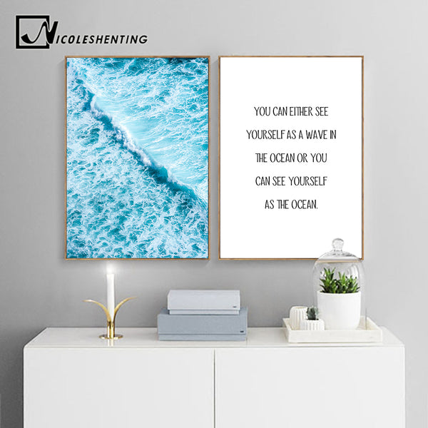 Scandinavian Ocean Waves Canvas Poster Landscape Nordic Style Wall Art Print Motivational Paintings Decorative Pictures for Room