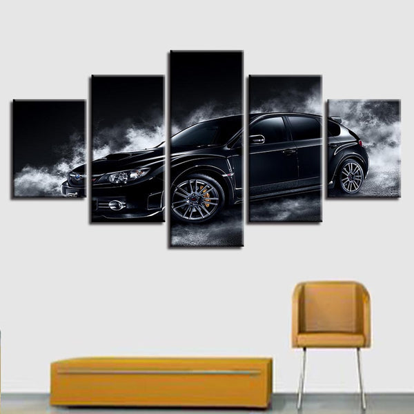 Printing HD Pictures Decor Living Room Wall Frame 5 Pieces Black Car Psychedelic White Smoke Poster Modular Paintings Canvas Art