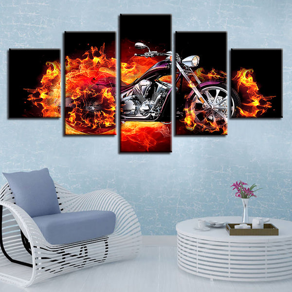 Home Modern Wall Art Printed Canvas Pictures Decor 5 Pieces Fire Burn Motorcycle Abstract Painting Poster Modular Frame Artworks