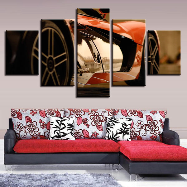 Modern HD Printing Poster Decor For Living Room Wall 5 Pieces Very Cool Sports Car Paintings Art Frames Modular Canvas Pictures
