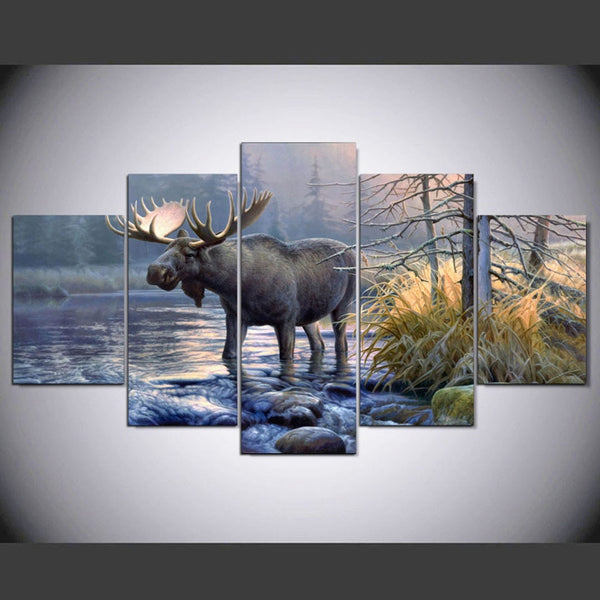 Wall Art Frame Canvas Living Room Abstract 5 Panel Moose Animal Lake Landscape Pictures Home Decor Modern HD Printed Paintings