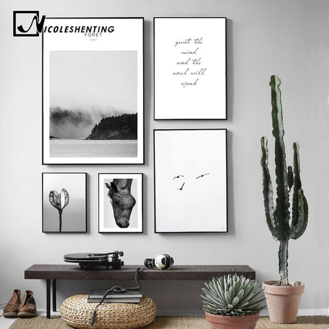 Minimalist Landscape Wall Art Canvas Poster Nordic Style Print Flower Forest Decorative Picture Home Decoration No Frame