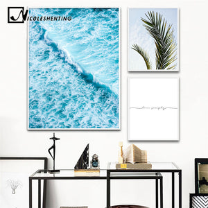 Scandinavian Sea Waves Wall Art Canvas Painting Leaf Ocean Seascape Nordic Posters and Prints Decorative Picture Home Decoration