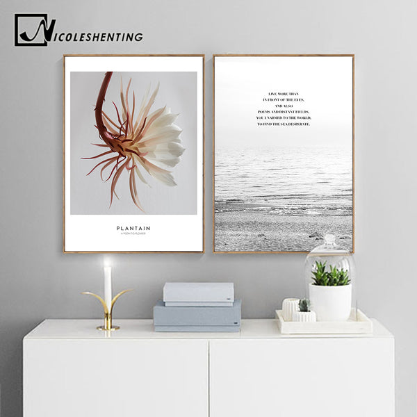 NICOLESHENTING Landscape Wall Art canvas Poster Nordic Style Print Flower Sea Painting Decorative Picture Home Decoration