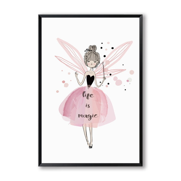 Sweet Cute Cartoon Watercolor Girl Poster  Print Art Canvas Painting Nordic Style Nursery Picture for Living Room Home Decor