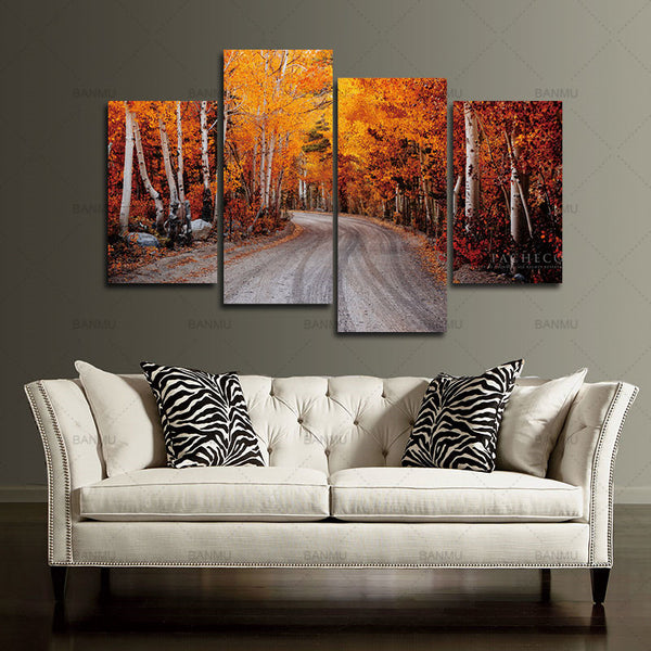 Canvas Prints Artwork Wall Art Home Decor  Pyradecor Forest Road Nature 4 panels Modern Giclee on Stretched and Framed Canvas