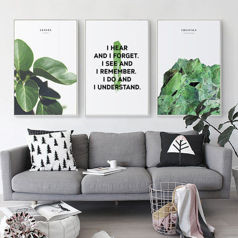 Elegant Poetry Happy Green Things and Inspirational Phrases Canvas Painting Art Print Poster Picture Wall Home Decoration OT203