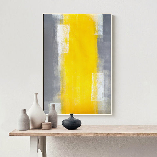 Abstract Paint Yellow Gray and White Canvas Painting Art Print Poster Picture Wall Painting Bedroom Home Wall Decor