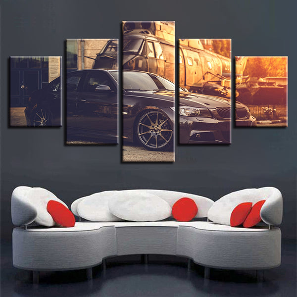 Print Wall Art Framework Paintings 5 Pieces Black Car Sunshine Scenery Decoration For Living Room Canvas Pictures Modular Poster