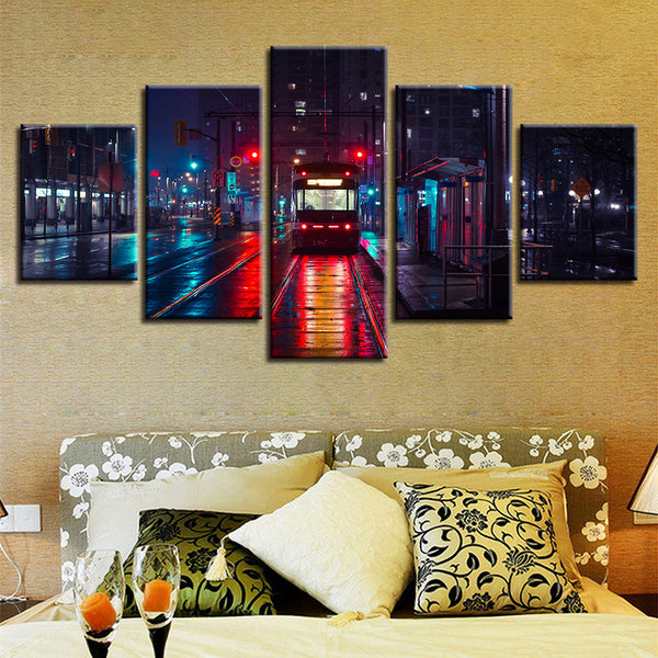 Poster Canvas Wall Art Home Decor Living Room 5 Pieces Tramcar City Night Scene Pictures HD Printing Modular Framework Paintings