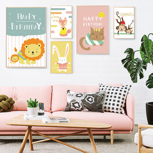 Modern minimalist Scandinavian Kawaii Cartoon Animal Children's Room Canvas Art Painting Print Picture Wall Home Decor