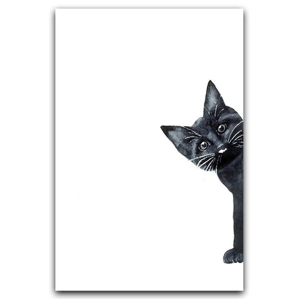Nordic Simple Cute Black and White Cartoon Cat Child Room Canvas Painting Art Print Poster Picture Wall Bedroom Home Decor