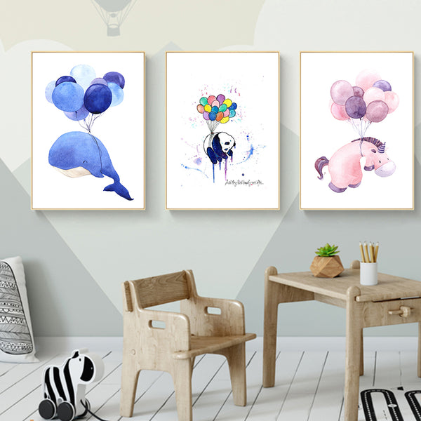 Nordic Small Fresh Cartoon Balloon Children's Room Canvas Art Painting Print Picture Wall Home Living Room Decoration Painting