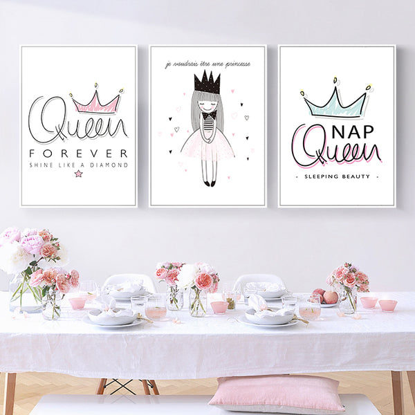 Kawaii Fresh Cute Loli Crown Pink Princess Girl Children's Room Canvas Painting Art Print Poster Picture Wall Nordic Home Decor