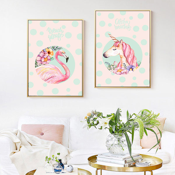 Modern Minimalism Scandinavian Kawaii Pink Animal Princess Children's Room Canvas Painting Art Print Poster Picture Home Decor