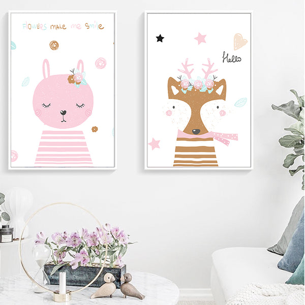 Nordic Simple Fresh Kawaii Pink Cartoon Princess Room Canvas Painting Art Print Poster Picture Wall Children's Room Home Decor