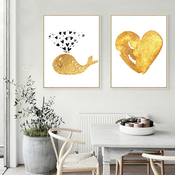 Nordic Simple Cute Golden Cartoon Dolphin Love Canvas Art Abstract Painting Print Poster Picture Wall Baby Room Modern Home Deco
