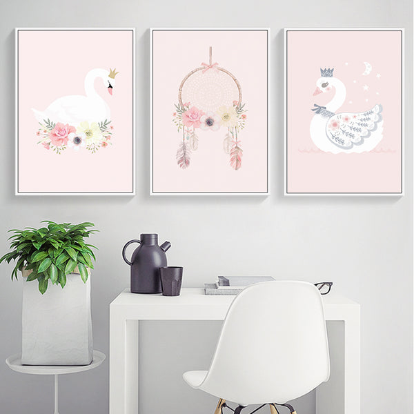Elegant Poetry Nordic Fashion Cute Pink Princess Series Animal Canvas Painting Art Print Poster Picture Child Bedroom Home Decor