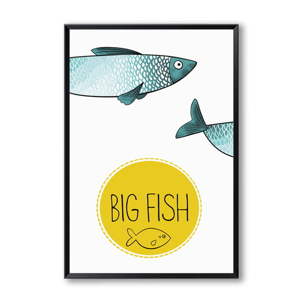Elegant Poetry  Fish and Boat Cartoon Decoration Art Canvas Painting Art Print Poster Picture Paintings Home Bedroom Wall Decor