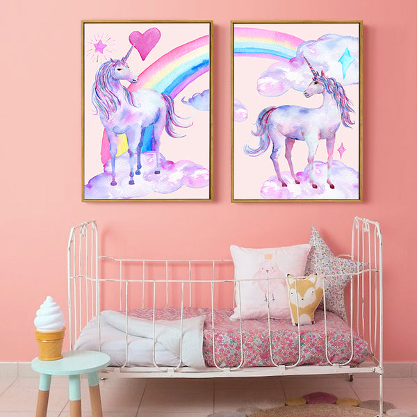 Nordic Kawaii 2PCS Cute Pink Princess Rainbow Series Cartoon Canvas Painting Art Print Poster Picture Children Bedroom Home Deco