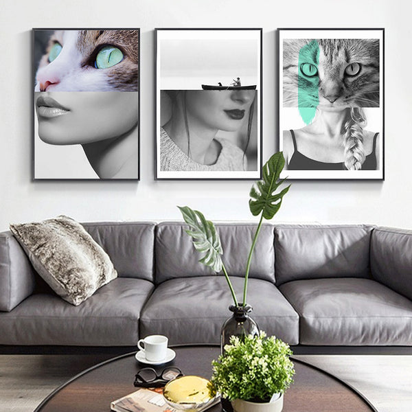Nordic Sexy Fashion Woman with Cats Abstract Art Combine Canvas Painting Poster Print Picture Wall Living Room Bedroom Home Deco