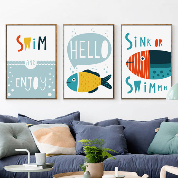 Elegant Poetry  Abstract Cartoon Ocean Fish English  Canvas Painting Art Print Poster Picture Wall Painting Home Decoration