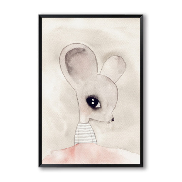 Modern Minimalist Hand-painted Watercolor Cute Cartoon Animal Mouse Canvas Art Print Poster Picture Wall Decoration Painting