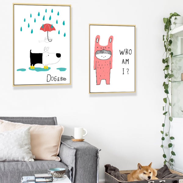 Nordic Minimalistic Cute Animal Puppy Fox Child Room Canvas Painting Art Print Poster Picture Home Bedroom Decoration Picture