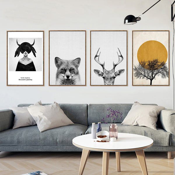 Minimalist Modern Cold Animal Girl Antelope Woods A4 Canvas Painting Printing Poster Picture Bedroom Living Room Decoration