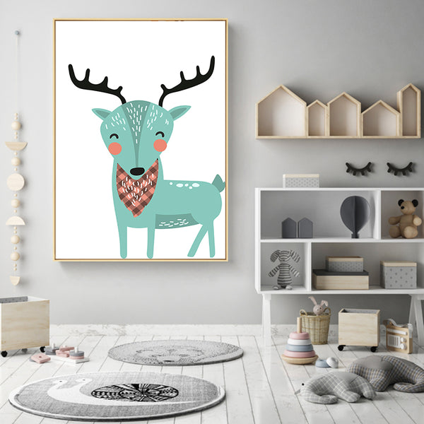 Elegant Poetry Kawaii Colorful Cartoon Animal Lion Deer Bear Children Bedroom Canvas Painting Poster Wall Nordic Style Decoratio