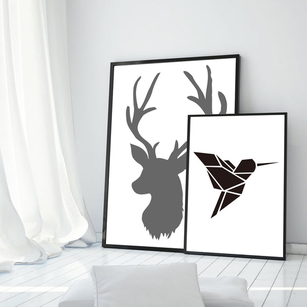 Elegant Poetry Nordic Modern Black And White Deer Bird Grass Text Canvas Painting Art Print Poster A4 Picture Wall Home Decor