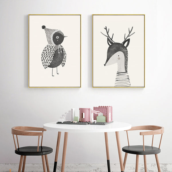 Nordic Cute Bird Bear Deer Animal Children's Room Canvas Painting Art Print Poster Picture Wall Living Room Bedroom Home Decor