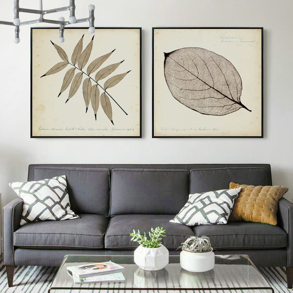 Elegant Poetry Modern Retro Transparent Leaves Canvas Painting Art Print Poster Picture Mural Bedroom Living Room Decoration