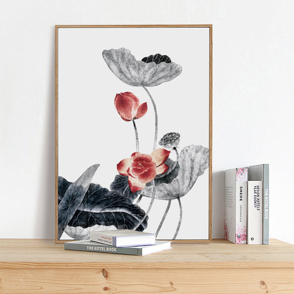 Modern Nordic Style Chinese Lotus Canvas Art Painting Print Poster Picture Wall Bedroom Living Room Home Decoration