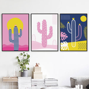Elegant Poetry Minimalistic Abstract Cactus Canvas Painting Art Print Poster Picture Wall Home Decoration